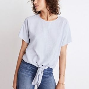 Madewell Button-back Tie Tee in Skinny Stripe